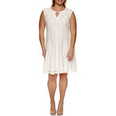 Studio 1 Sleeveless Keyhole Neck Lace Fit & Flare Dress-Plus