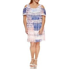 Alyx Short Sleeve Cold Shoulder Fit & Flare Dress-Plus