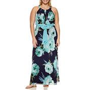 R & K Originals Sleeveless Tie Waist Floral Maxi Dress-Plus