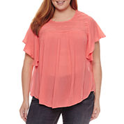 St. John's Bay® Flutter Sleeve Lace Yoke Blouse - Plus