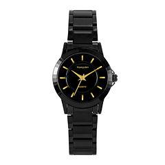 Hampden Womens Black-Tone Personalized Bracelet Watch