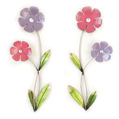 2 Flowers On Stem Wall Decor