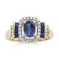 1/7 CT. T.W. Diamond & Blue Sapphire 10K Gold Ring