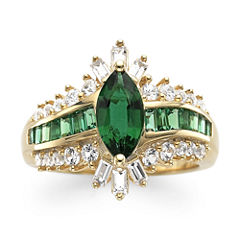 Lab-Created Emerald & White Sapphire 14K Gold Over Silver Cocktail Ring