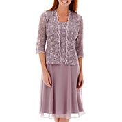 R&M Richards Long-Sleeve Lace Chiffon Jacket Dress