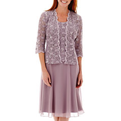 R&M Richards Long-Sleeve Lace Chiffon Jacket Dress