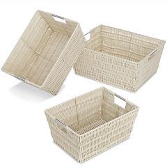 Whitmor Rattique 3-pc. Latte Storage Basket Set