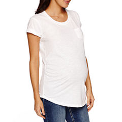 a.n.a Short Sleeve Scoop Neck T-Shirt-Womens Maternity