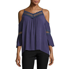 by&by3/4 Sleeve V Neck Crepe Blouse-Juniors