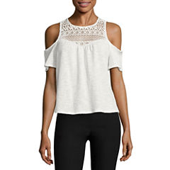 by&by Short Sleeve Sweetheart Neck Knit Blouse-Juniors
