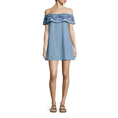 Arizona Off Shoulder Swing Dress-Juniors