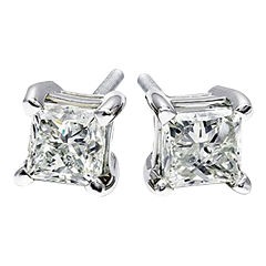 1/2 CT. T.W. Diamond Princess-Cut Stud Earrings