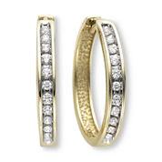 """â…"""" CT. T.W. Diamond Hoop Earrings"""