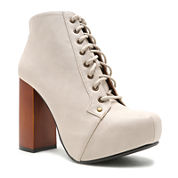 Qupid Lace-Up Chunky-Heel Booties