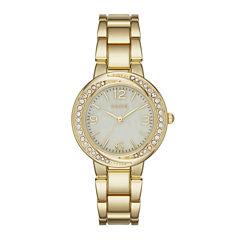 Geneva Womens Gold-Tone Twist Dial Watch