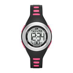Skechers® Womens Black and Pink Strap Digital Watch