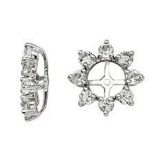 Genuine White Topaz and Diamond Accent Sterling Silver Earring Jackets