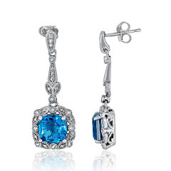 Simulated Paraiba Tourmaline and Diamond Accent Sterling Silver Earrings