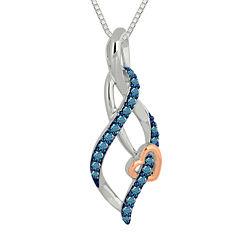 1/4 CT. T.W. Color-Enhanced Blue Diamond Swirl Pendant Necklace