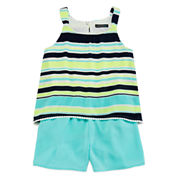 My Michelle® Sleeveless Neon Striped Popover Chiffon Romper - Girls 7-16