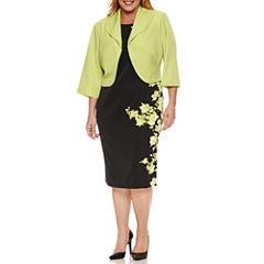 Maya Brooke 3/4 Sleeve Floral Jacket Dress-Plus