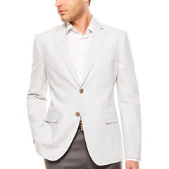 JF J. Ferrar Linen Cotton White Geo Sport Coat-Slim