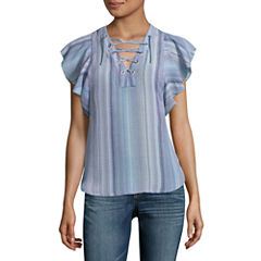 a.n.a Flutter Sleeve Lace Up Blouse