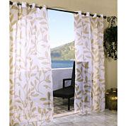 Escape Leaf Grommet-Top Outdoor Curtain Panel