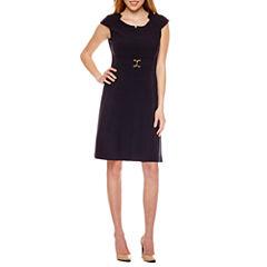 Chelsea Rose Cap Sleeve Notch Neck A-Line Dress