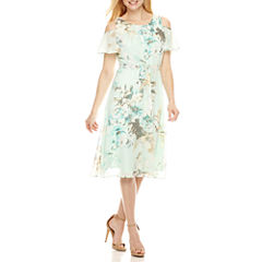 Perceptions Short Sleeve Fit & Flare Dress-Petites