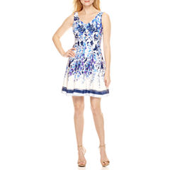 Danny & Nicole Sleeveless Fit & Flare Dress-Petites