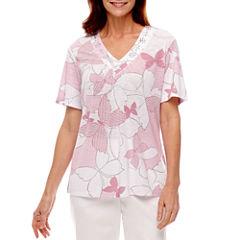 Alfred Dunner Garden Party Short Sleeve Butterfly V Neck T-Shirt