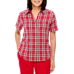 Alfred Dunner 0417 Lady Liberty Short Sleeve Button-Front Shirt