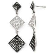 Marcasite & Cubic Zirconia Geometric Drop Earrings Sterling Silver