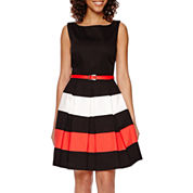 Tiana B. Sleeveless Colorblock Fit-and-Flare Dress