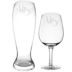 Cathy's Concepts Mrs. & Mrs. Gatsby XL Beer and Wine Glass Set