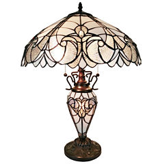 Amora Lighting AM203TL18 Tiffany Style Floral Finish Double Lit Table Lamp 23 inches