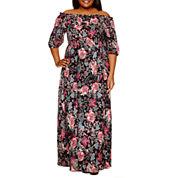 Boutique + 3/4 Sleeve Maxi Dress-Plus