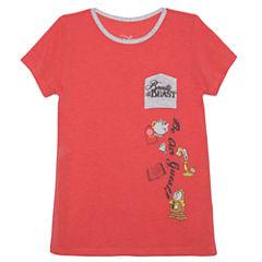 Disney Short Sleeve Round Neck Beauty and the Beast T-Shirt-Big Kid Girls