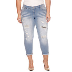 Union Bay Destructed Roll Cuff Cropped Pants-Juniors Plus
