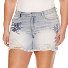 Rewash Destructed Floral Fray Hem Shorts - Juniors Plus