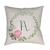 Decor 140 Floral Letter Square Throw Pillow