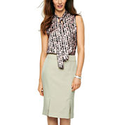 Black Label by Evan-Picone Tie-Neck Print Blouse or Vented-Hem Pencil Skirt