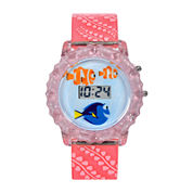 Disney Finding Dory LCD Rotating Flash Dial With Pink Plastic Strap Watch