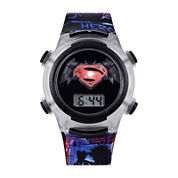 DC Comics® Superman Silver Bezel and Black Strap LCD Kids Watch