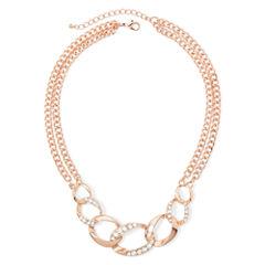 Worthington® Crystal Rose-Tone Pavé Necklace