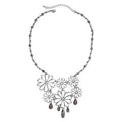 Bold Elements™ Silver-Tone Floral Filigree Bib Necklace