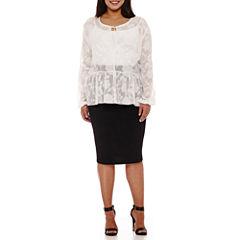 BELLE + SKY™ Long-Sleeve Peasant Top or Pencil Skirt - Plus