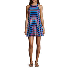 Arizona Sleeveless Stripe Swing Dresses-Juniors