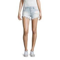 Arizona Fray High-Rise Denim Shorts-Juniors
